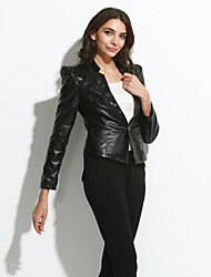 Women's Casual/Daily Street chic Spring Fall Leather Jackets,Solid Long Sleeve Red Black PU