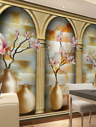 JAMMORY Art DecoWallpaper For Home Wall Covering Canvas Adhesive required Mural Pink Floral Gold Door XL XXL XXXL