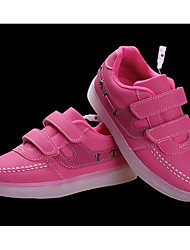 Girl's Athletic Shoes Fall Winter Comfort PU Casual Flat Heel Lace-up LED Black Pink White