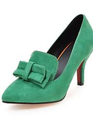 Women's Heels Spring Summer Fall Comfort Fleece Wedding Dress Party & Evening Stiletto Heel Bowknot Black Green Blushing Pink Walking