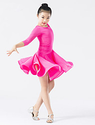 cheap -Latin Dance Dresses Children's Performance Polyester Spandex Draping Cascading Ruffle Long Sleeves Natural Dress
