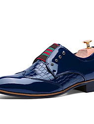 cheap -Men's Shoes Patent Leather Spring Fall Comfort Bullock shoes Oxfords Walking Shoes Button Gore For Casual Black Blue Burgundy