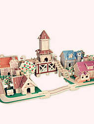 Jigsaw Puzzles Wooden Puzzles Building Blocks DIY Toys Romantic European Town 1 Wood Ivory Model & Building Toy