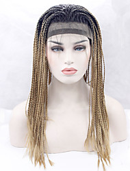 cheap -Women Long Golden Blonde Straight Natural Hairline Braided Wig African Braids Ombre Hair Dark Roots Middle Part African American Wig For
