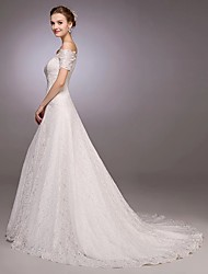 cheap -A-Line Off Shoulder Court Train All Over Lace Custom Wedding Dresses with Lace by LAN TING Express