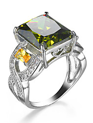 Ring AAA Cubic Zirconia Zircon Cubic Zirconia Alloy Green Jewelry Wedding Casual 1pc