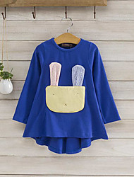 cheap -Girl's Daily Patchwork Dress,Cotton Spring Fall Long Sleeve Cartoon Royal Blue