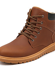 Men's Boots Comfort PU Winter Outdoor Comfort Lace-up Flat Heel Black Light Brown Dark Brown Flat