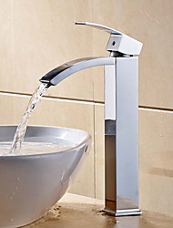 Contemporary Modern Centerset Waterfall Widespread Ceramic Valve One Hole Single Handle One Hole Chrome , Bathroom Sink Faucet