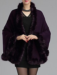Women's Going out / Casual/Daily Vintage Cloak/Capes,Solid / Print V Neck Long Sleeve Fall / WinterBlue / Red / White / Beige / Black /