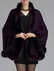 Cloak / Capes Da donna Per uscire Casual Autunno Inverno Vintage,Tinta unita Con stampe A V Lana Acrilico Rosso Beige Nero Marrone Viola