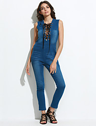 cheap -Women's Street chic Jumpsuit - Solid Colored, Denim Deep V