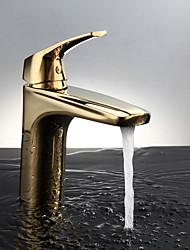 economico -Moderno Montaggio su piattaforma Termostatico Valvola in ceramica Uno Una manopola Un foro Ti-PVD, Lavandino rubinetto del bagno