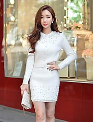 Standard Cardigan Da donna-Per uscire Casual Vacanze Romantico Moda città Sofisticato Tinta unita Bianco Rotonda Manica lungaLana