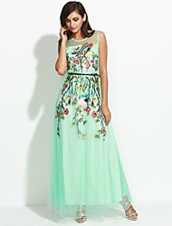 cheap -Boutique S Women's Daily Chinoiserie Sheath DressFloral Round Neck Maxi Sleeveless Blue Polyester Summer