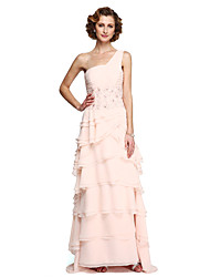 cheap -A-Line One Shoulder Floor Length Chiffon Lace Mother of the Bride Dress with Beading Appliques Ruching Pleats by LAN TING BRIDE®