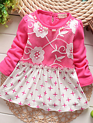 cheap -Girl's Daily Going out Patchwork Dress,Cotton Spring Fall Long Sleeve Lace Fuchsia Navy Blue