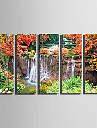 Kanvas Sæt Landskab Moderne,Fem Paneler Kanvas Vertikal Kunsttryk Vægdekor For Hjem Dekoration