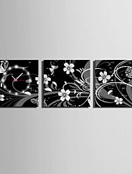 cheap -MINI SIZE E-HOME Black and White Flowers Clock in Canvas 3pcs