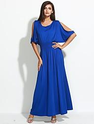 Damen Hülle Kleid-Lässig/Alltäglich / Übergröße Einfach / Street Schick Solide Rundhalsausschnitt Maxi KurzarmBlau / Rot / Beige /
