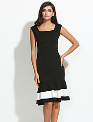 Women's Work Simple Trumpet/Mermaid Dress,Patchwork Square Neck Knee-length Sleeveless Black Polyester Summer