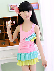 Girl Ruffle Rainbow Patchwork Swimwear,Spandex