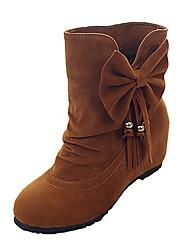 preiswerte -Damen Schuhe PU Winter Herbst Komfort Stiefel Flacher Absatz Runde Zehe Schleife für Normal Schwarz Gelb Rot