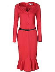 Moulante Robe Femme Décontracté / Quotidien Sexy,Couleur Pleine V Profond Mi-long Manches Longues Rouge Noir Coton Printemps EtéTaille