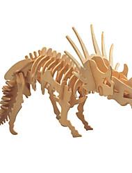 Недорогие -3D пазлы Деревянные пазлы трицератопс Динозавр Животный принт Ископаемые кости Своими руками деревянный 1pcs Детские Мальчики Подарок