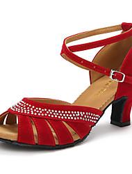 Damer Latin Glimtende Glitter Ruskind Hæle Træning Begynder Indendørs Optræden Krystal Spænde Personligt tilpassede hæle Sort Rød Blå 5,5