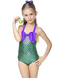 Girl Cartoon Color Block Swimwear,Spandex