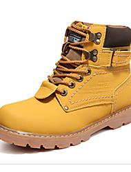 Недорогие -Муж. обувь Полиуретан Зима Удобная обувь Ботинки Шнуровка для на открытом воздухе Черный Желтый Темно-коричневый