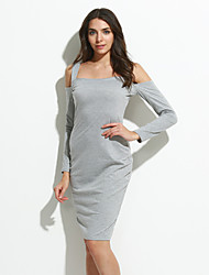 Women's Casual/Daily Sexy Sheath DressSolid Boat Neck Knee-length Long Sleeve Black / Gray Cotton Fall /