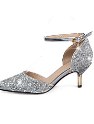 Women's Heels Spring Summer Fall Glitter Wedding Office & Career Party & Evening Stiletto Heel Sequin Buckle Gold Silver
