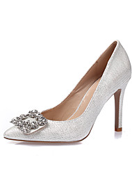 Women's Heels Spring Summer Fall Winter Glitter Leatherette Wedding Party & Evening Dress Stiletto Heel Rhinestone CrystalGold White