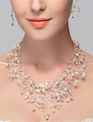 cheap -Women's Synthetic Diamond Strands Necklace / Y Necklace - Pearl, Imitation Pearl, Imitation Diamond Flower Luxury, Tassel White Necklace For Wedding, Party, Birthday / Engagement / Daily