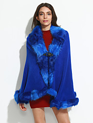 Women's Going out / Casual/Daily Vintage Cloak/Capes,Solid V Neck Sleeveless Fall / Winter Blue / Red / Black / Brown / PurpleWool /