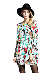 Women's Casual/Daily Beach Holiday Cute Loose Dress,Print Boat Neck Above Knee Long Sleeves Wool Acrylic Nylon Spring Fall High Rise