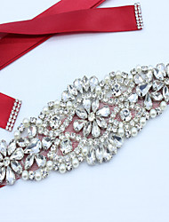 cheap -Satin Wedding / Party / Evening / Dailywear Sash With Rhinestone / Beading / Imitation Pearl Women's Sashes / Appliques