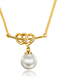 Women's Pendant Necklaces Pearl AAA Cubic Zirconia Pearl Gold Plated 18K gold Heart Unique Design Heart Euramerican Gold JewelryWedding