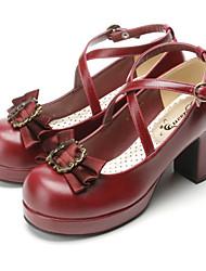 economico -Scarpe Gotico Dolce Lolita Classica e Tradizionale Punk Wa Marinaia Ispirazione Vintage Vittoriano Elegant Tacco alto Fiocco Fiocco 7.5 CM