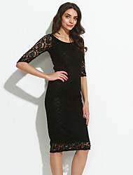 Women's Lace Solid/Lace Black/Purple Dress,Sexy/Bodycon Round Neck ¾ Sleeve Midi