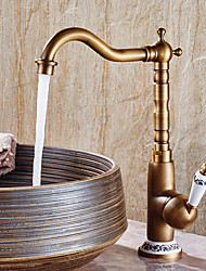 cheap -Contemporary Antique Modern Centerset Widespread Ceramic Valve One Hole Single Handle One Hole Antique Copper , Bathroom Sink Faucet