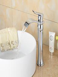 abordables -Moderne Set de centre Jet pluie Soupape céramique Mitigeur un trou Chrome , Robinet de baignoire