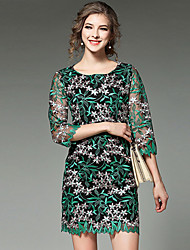 Women's Lace Going out Street chic Shift Dress,Embroidered Round Neck Above Knee ¾ Sleeve Green Polyester Spring Mid Rise Micro-elastic Medium