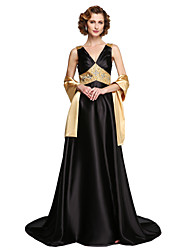 cheap -A-Line V-neck Floor Length Satin Mother of the Bride Dress with Beading Sequins by LAN TING BRIDE®