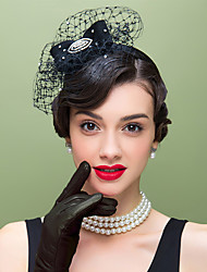 uld rhinestone net fascinators hovedstykke klassisk feminin stil