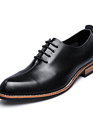 cheap -Men's Shoes Cowhide Spring Summer Fall Winter Comfort Formal Shoes Oxfords Walking Shoes Lace-up For Wedding Office & Career Party &