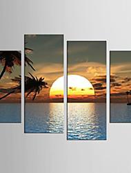 Landscape Floral/Botanical Modern Mediterranean,Four Panels Canvas Any Shape Print Wall Decor For Home Decoration