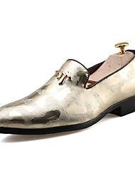 Masculino sapatos Couro Ecológico Primavera Outono Conforto Mocassins e Slip-Ons Para Casual Dourado Preto Prata